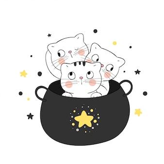 魔法の大釜でかわいい猫を描きます。ハロウィーン用。
