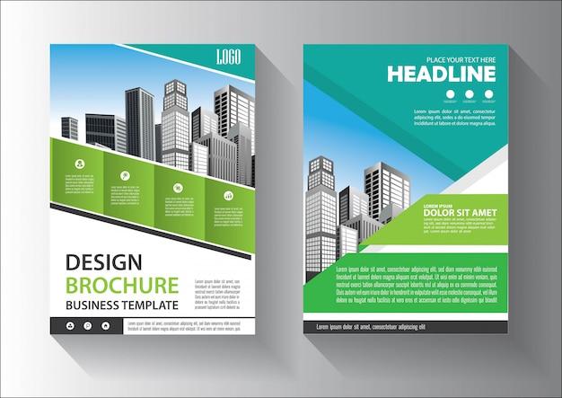 緑色のパンフレットまたはチラシテンプレートのデザイン
