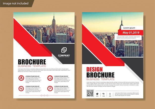 アニュアルレポートの赤いカバーチラシとパンフレットの型板