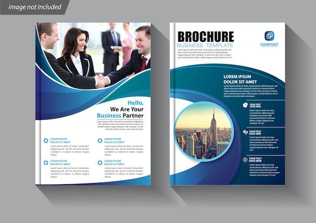 Синий флаер бизнес шаблон для брошюры компании