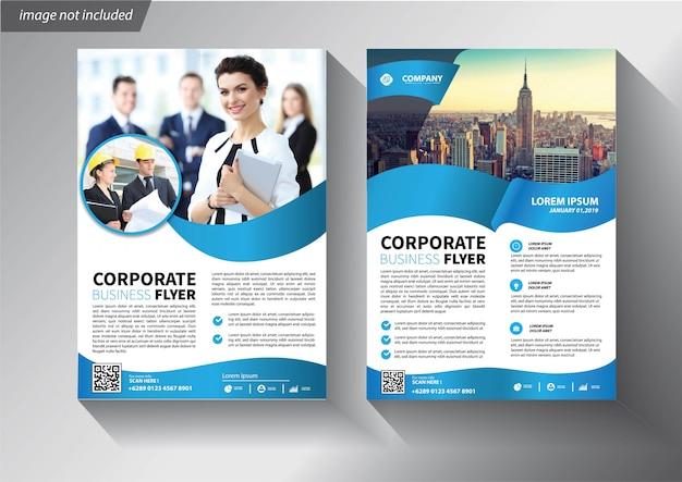 Синий шаблон флаера для корпоративной брошюры