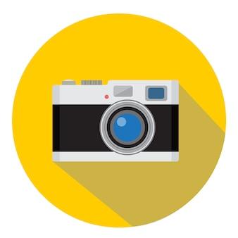 黄色の背景に黒のレトロなカメラベクトル