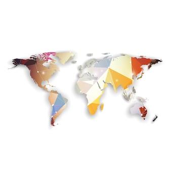 影のある世界地図