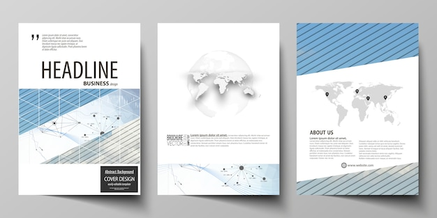 パンフレット、チラシ、年次報告書のビジネステンプレート。