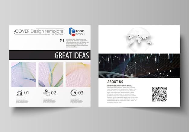 正方形デザインパンフレット、チラシ、年次報告書のビジネステンプレート。