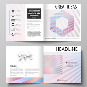 正方形の二つ折りパンフレット、雑誌、チラシのビジネステンプレート