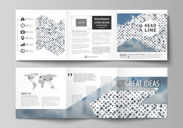 三つ折り正方形のパンフレットのビジネステンプレート