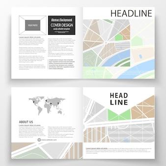 正方形の二つ折りパンフレット、雑誌、チラシ、レポートのビジネステンプレート。