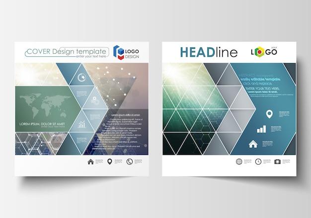 正方形のデザインパンフレット、雑誌、チラシ、小冊子、レポートのビジネステンプレート。