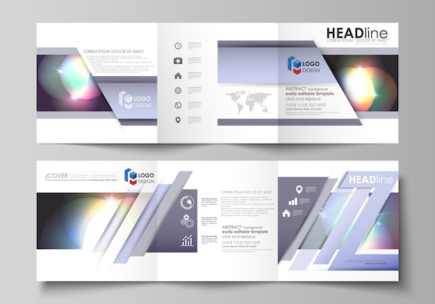 三つ折り正方形パンフレットのビジネステンプレートのセット