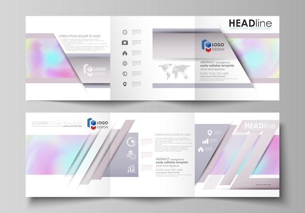 三つ折り正方形デザインパンフレットのビジネステンプレート