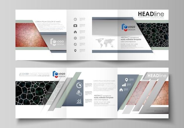 三つ折り正方形デザインパンフレットのビジネステンプレート。