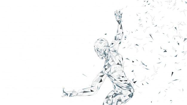 概念的な抽象的な男と戦うために準備ができて。接続線、点、三角形、粒子