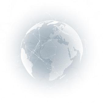 灰色の背景上の地球儀