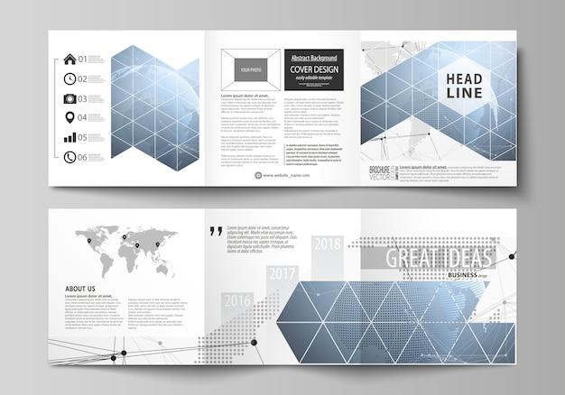 Два современных креативных шаблона оформления обложек для квадратной брошюры или флаера.