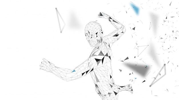 概念的な抽象的な男は強力なパンチをしています。接続線、点、三角形、粒子。人工知能の概念ハイテク