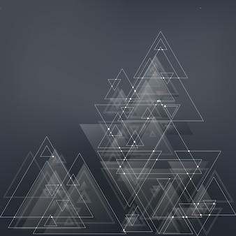 青い三角形の抽象的な多角形低ポリのベクトルの背景