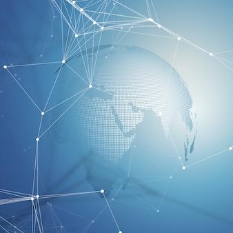 抽象的な未来的なネットワーク形状。ハイテクの背景、線と点、多角形の線形テクスチャを接続します。青の地球儀。グローバルネットワーク接続、幾何学的設計、掘削データの概念。