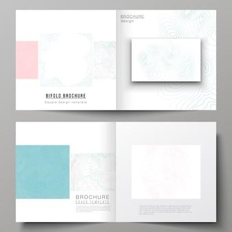 Макет двух шаблонов обложек для квадратной двукратной брошюры