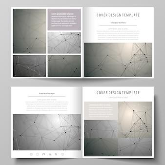 正方形の二つ折りパンフレットのビジネステンプレート。