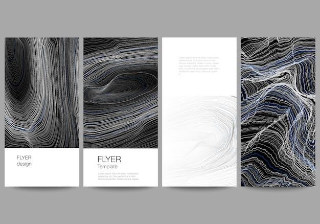 Макет флаера, шаблоны баннеров, гладкая дымовая волна, высокотехнологичный черный цвет.