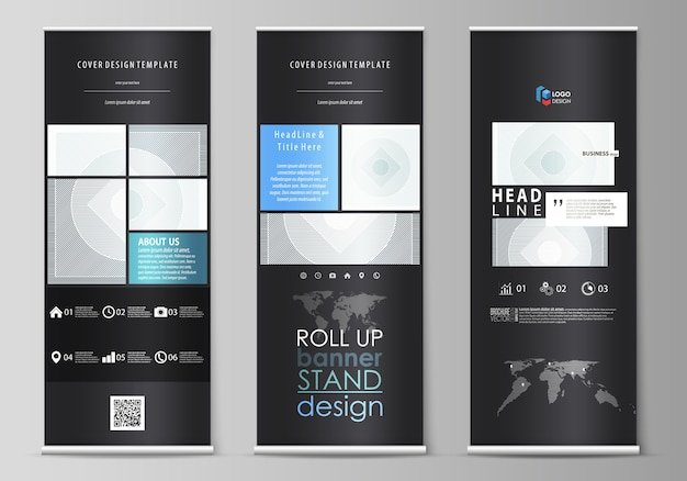 Сверните стенды баннера, плоские шаблоны, абстрактный геометрический стиль, корпоративные вертикальные летчики, расположения флага. минималистичный с линиями. серый цвет геометрических фигур, простой рисунок.