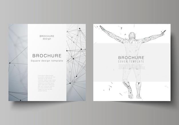 Минимальная иллюстрация редактируемого макета двух квадратных форматов охватывает шаблоны дизайна для брошюры, флаера, журнала.