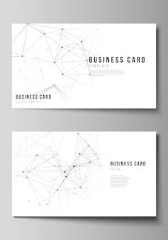 Иллюстрация редактируемого макета двух шаблонов дизайна творческих визитных карточек. технология, наука, медицинская концепция.