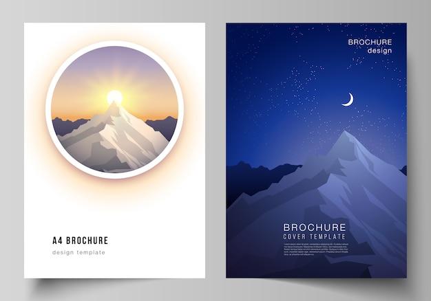 パンフレット、雑誌、チラシ、小冊子のテンプレート。旅行の概念の背景。