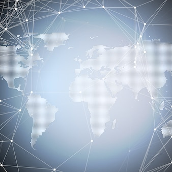 化学パターン、線と点を結ぶ点線の世界地図。