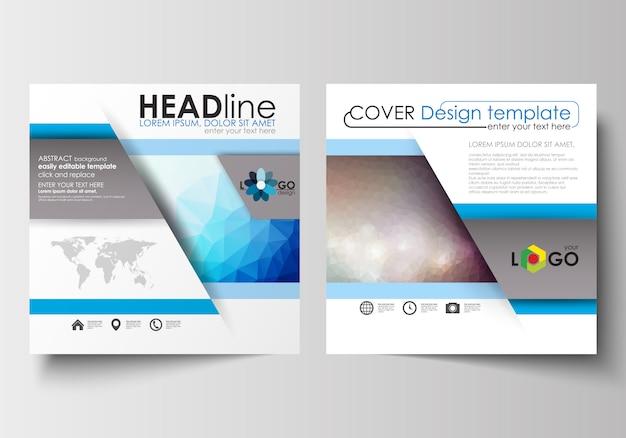 スクエアデザインのパンフレット、雑誌、チラシのビジネステンプレート。抽象的な三角形