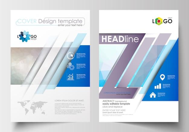 パンフレット、雑誌、チラシのビジネステンプレート。表紙デザインテンプレート