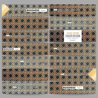 モダンなバナーのセット。イスラムゴールドパターン