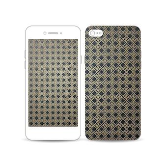 Мобильный смартфон с примером экрана и дизайна крышки