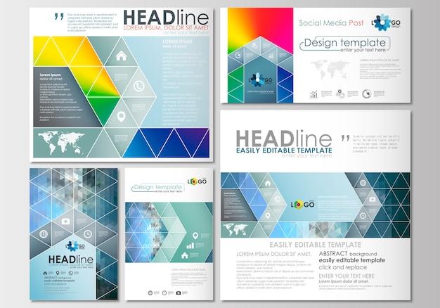 ソーシャルメディア投稿が設定されました。メッシュグラデーションによるカバーデザインテンプレート