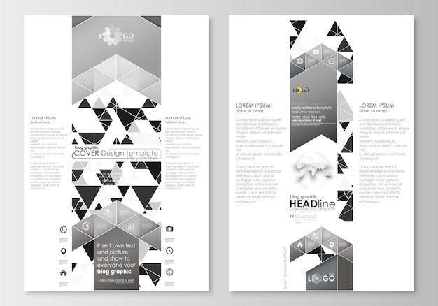 ブログのグラフィックビジネステンプレート。ページのウェブサイトテンプレート。抽象的な三角形のデザイン