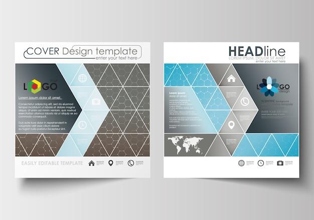 Бизнес-шаблоны для квадратной брошюры, журнал, флаер.