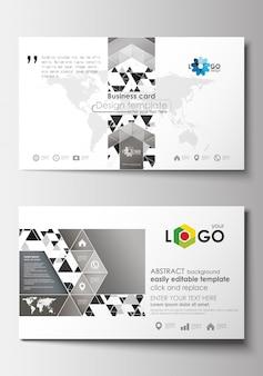 名刺テンプレート。カバーテンプレート。抽象的な三角形のデザインの背景