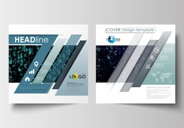 スクエアデザインのパンフレット、雑誌、チラシ、小冊子のためのテンプレート。バーチャルリアリティ