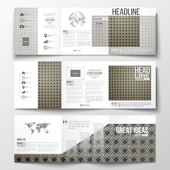 三つ折りパンフレットのセット、スクエアデザインテンプレート。イスラムゴールドパターン