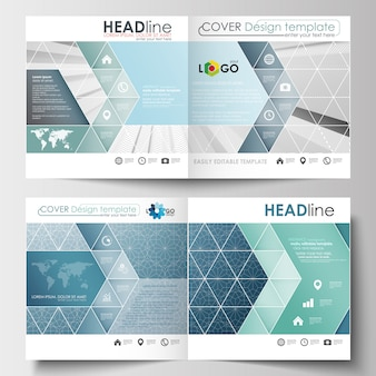 スクエアデザインのパンフレット、チラシ、レポート用のビジネステンプレート