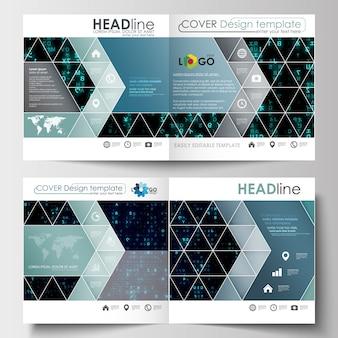 正方形デザインのパンフレット、雑誌、チラシ、小冊子のビジネステンプレート