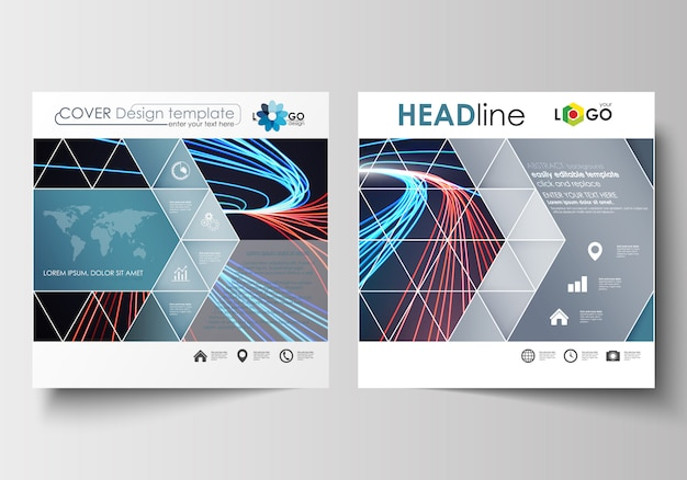 正方形のパンフレット、チラシ、小冊子、レポートのビジネステンプレート