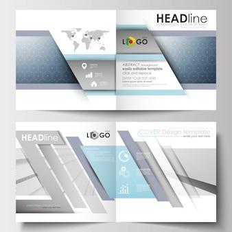 正方形のデザインパンフレット、チラシ、小冊子、レポートのビジネステンプレート