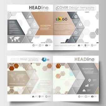 正方形のデザインパンフレット、雑誌、チラシ、小冊子、またはレポートのビジネステンプレート