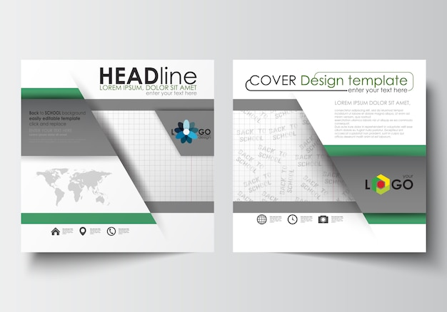正方形デザインのパンフレット、雑誌、チラシ、小冊子、またはレポートのビジネステンプレート