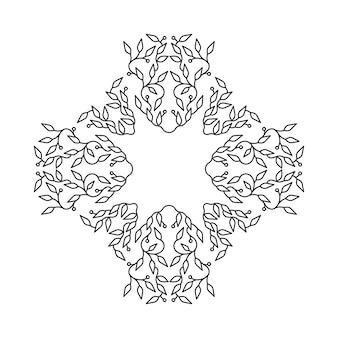 抽象的なブラックカラーフレームデザイン、白い背景で隔離されたテンプレート