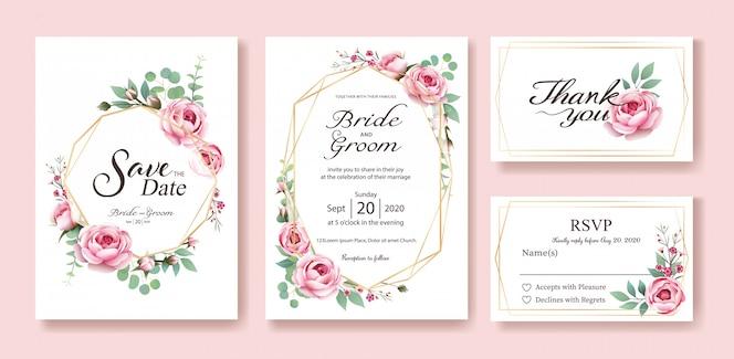 結婚式招待状。ベクター。スウェーデンの女王が薔薇になった。