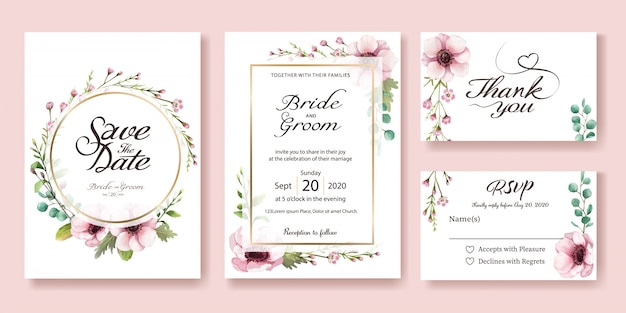 結婚式招待状。アネモネの花。水彩スタイル。
