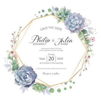 美しい緑の結婚式招待状